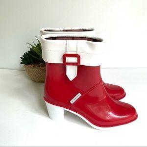 Burberry nova check heeled rain boots red 37 6.5